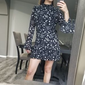 H&M long sleeve ruffle flower everyday dress